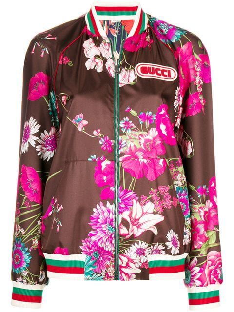 8fbc8b6e1 Gucci Reversible Floral-Print Silk-Twill Bomber Jacket In Brown ...