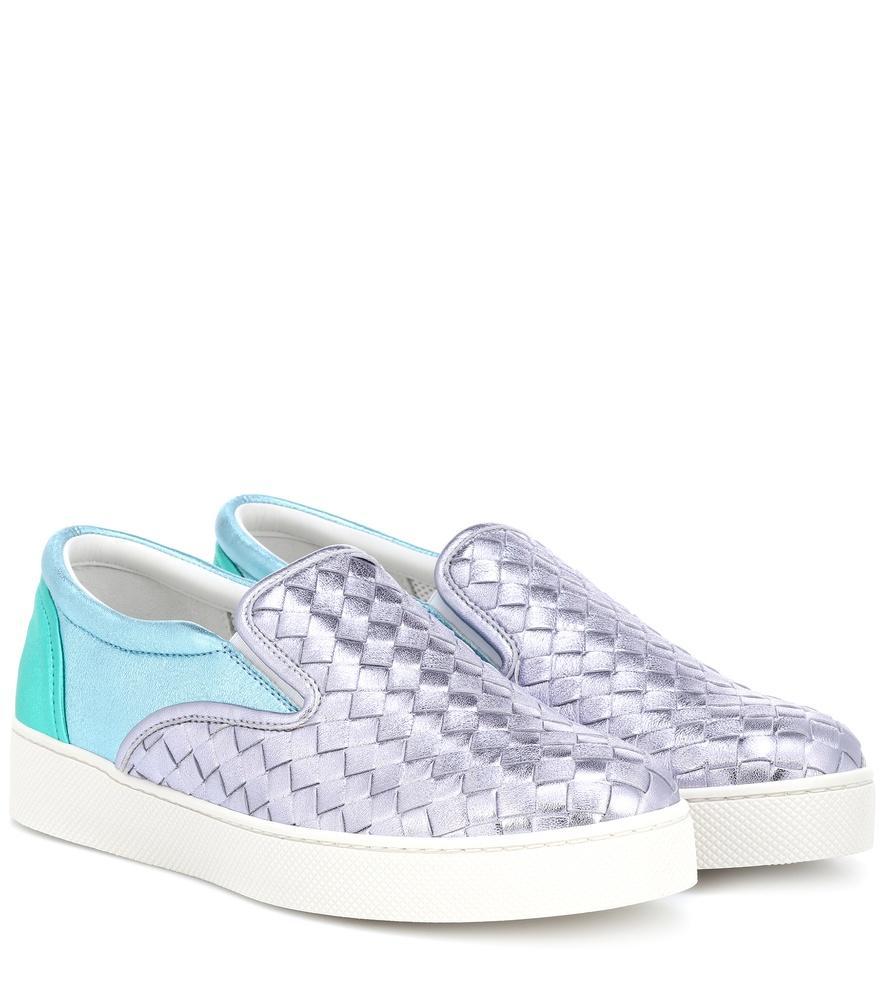 bdffd52a8aa0 Bottega Veneta Intrecciato Leather Slip-On Sneakers In Silver