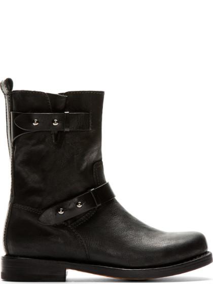 Rag & Bone Black Leather Textured Biker Boots