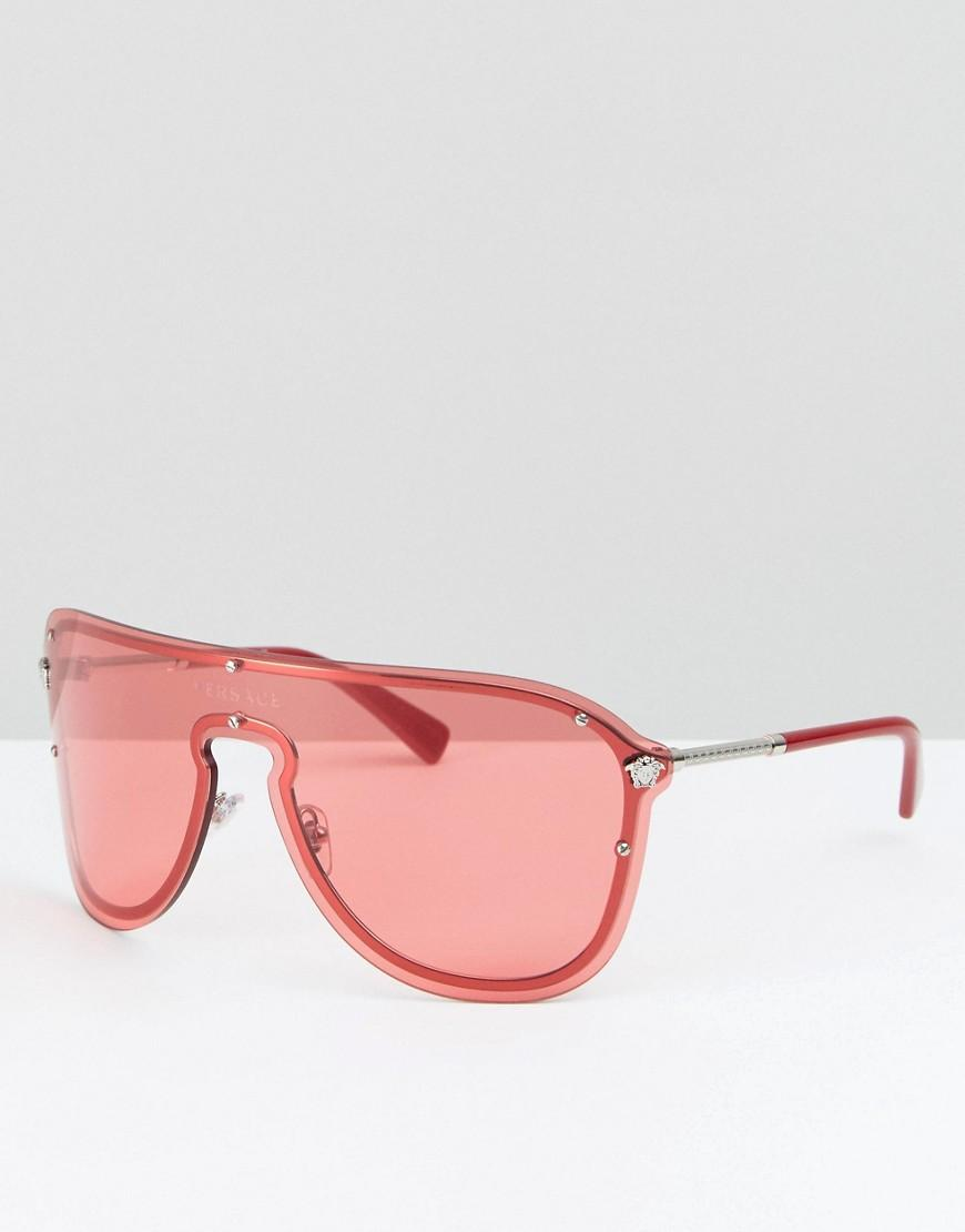 7239bfe6f5a Versace Shield Sunglasses In Pink - Pink