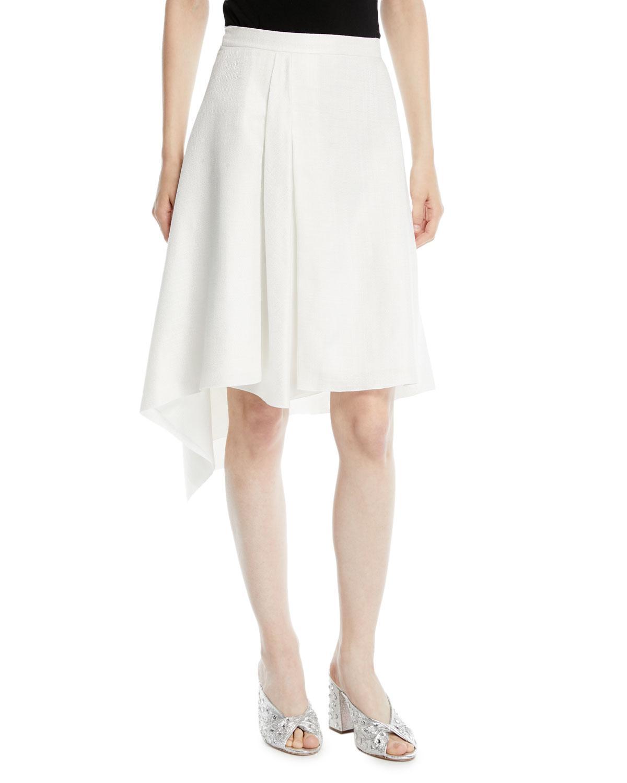 0afbd26e11 Delpozo A-Line Asymmetric Midi Skirt In White   ModeSens