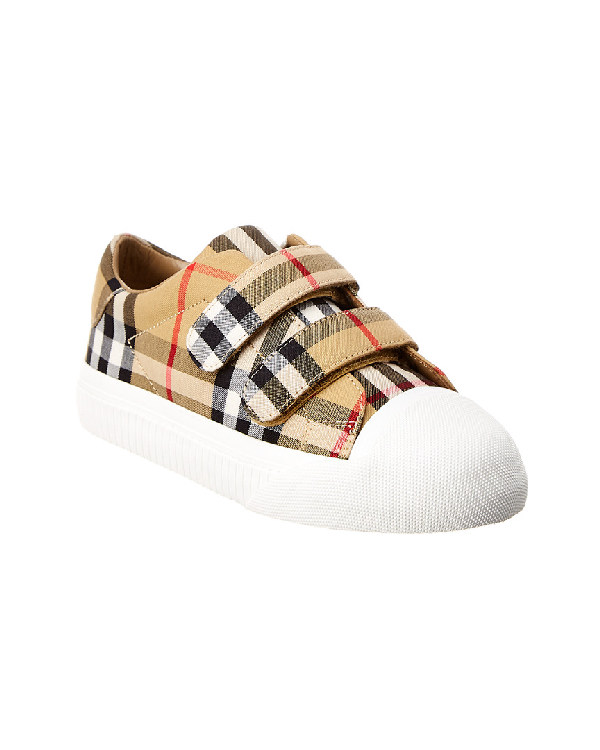 Burberry Belside Vintage Check Canvas Sneakers, Toddler In Nocolor