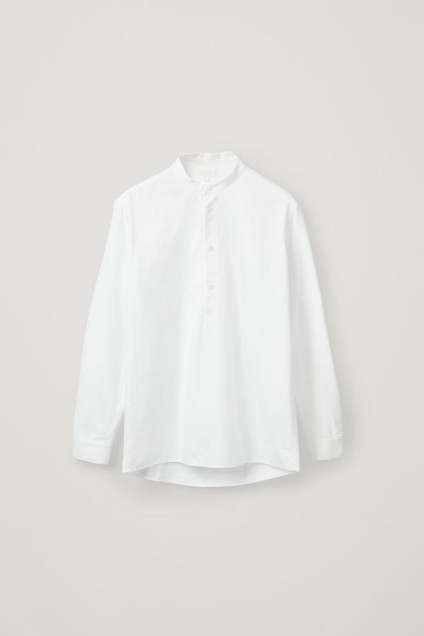 Cos Organic Cotton Grandad-collar Tunic Shirt In White