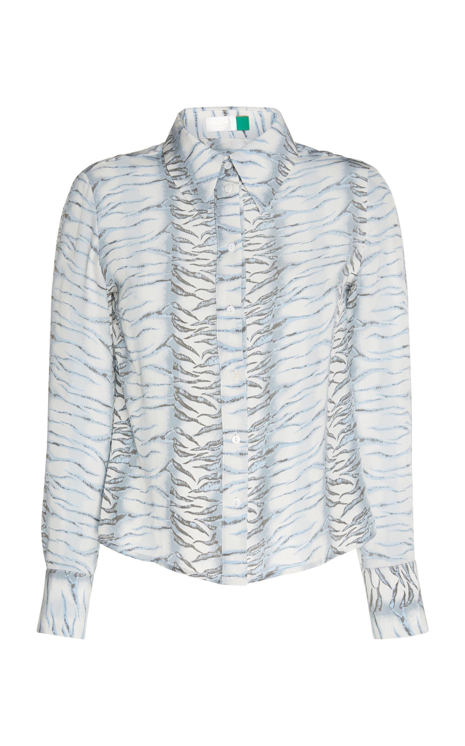 07eb246d6 Rixo London Jamie Silk Button Up Top In Animal | ModeSens