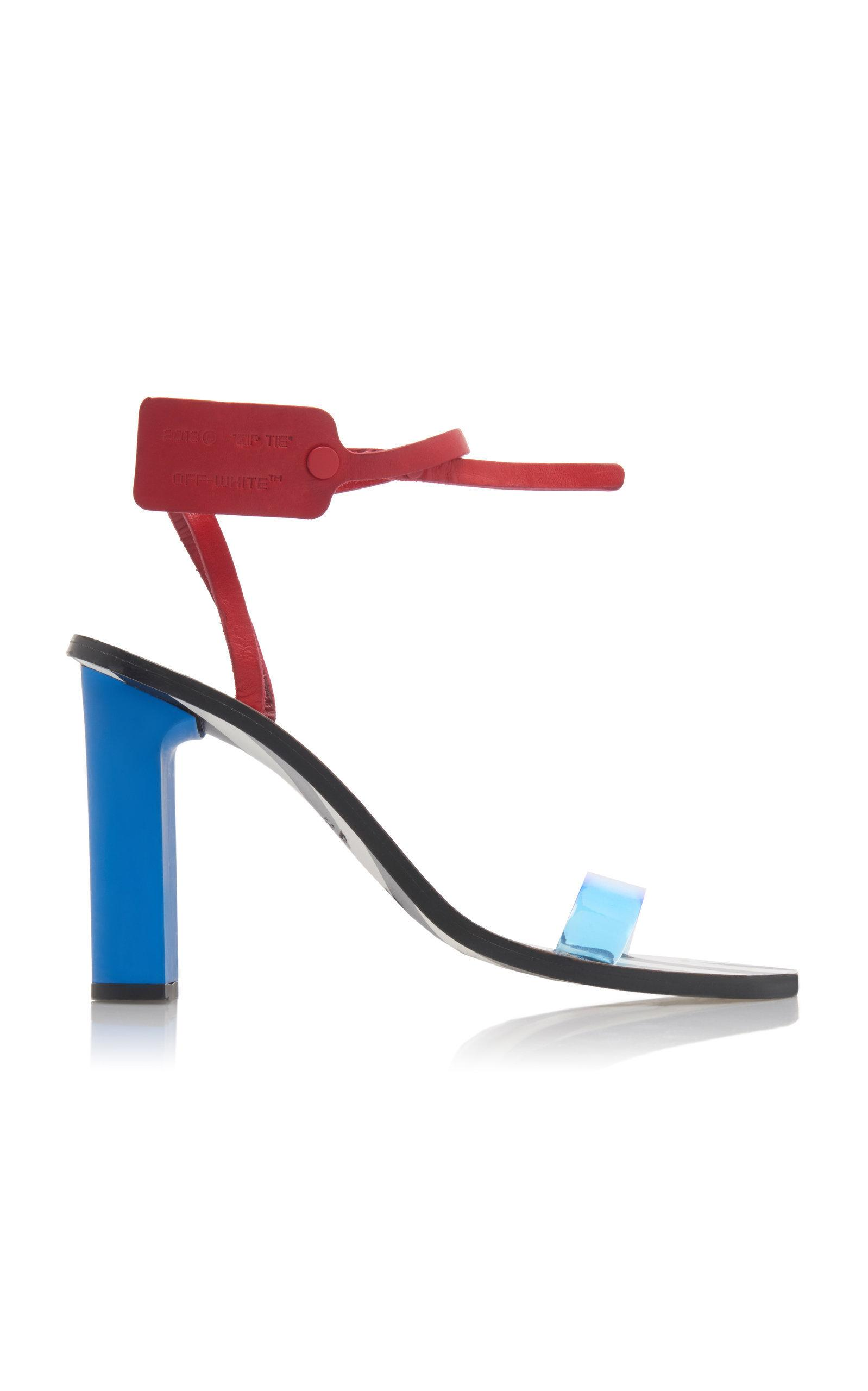 36e0f31a80a6 Off-White Capri Zip Tie-Embellished Leather Sandals In Blue