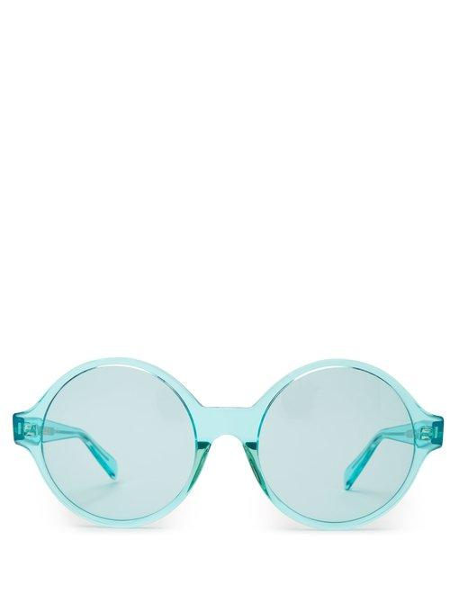 acd6e0e06f8 Celine Eyewear - Oversized Round Frame Acetate Sunglasses - Womens - Light  Blue