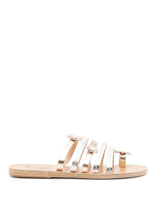 421ecd2bbaa Ancient Greek Sandals X Fabrizio Viti Victoria Leather Sandals In Silver  Gold