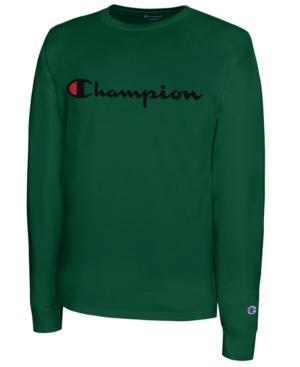 ee180515 Men's Script Logo Long Sleeved T-Shirt in Dark Green