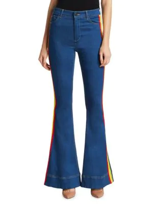 Alice And Olivia Kayleigh Bell Jeans In French Blue