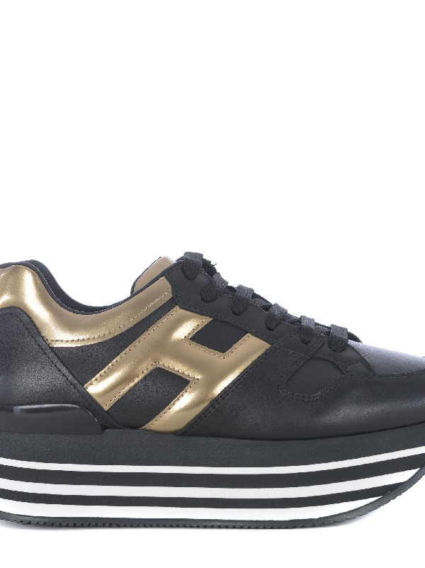 Hogan Maxi H222 Black And Gold Leather Sneaker In Nero/Albicocca