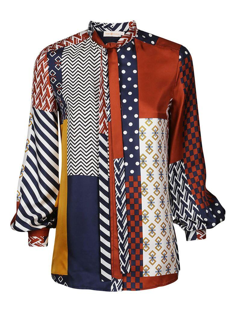 d2c959208e0817 Tory Burch Vivian Patchwork Print Pussybow Blouse In Multi