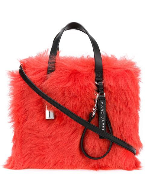 Marc Jacobs The Fur Mini Grind Tote In Red