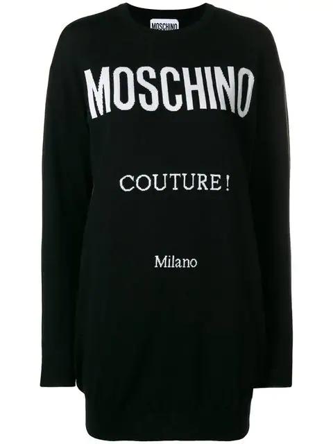 Moschino Logo Intarsia Knit Dress In Black