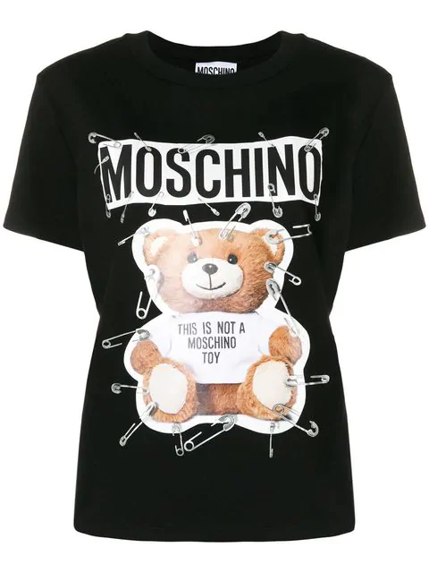 Cotton Jersey T Shirt With Safety Pin Teddy Print 2 in Black