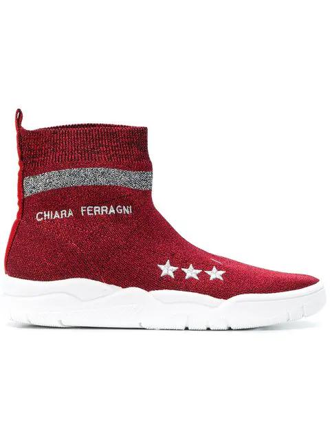 Chiara Ferragni Lurex Effect Sneakers Color Red In Rosso