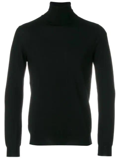 Zanone Turtleneck Pullover In Black