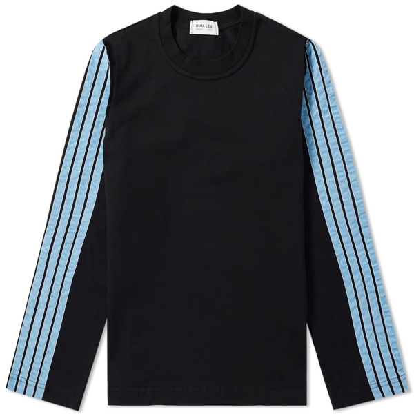 Dima Leu Long Sleeve Stripe Jersey Tee In Black