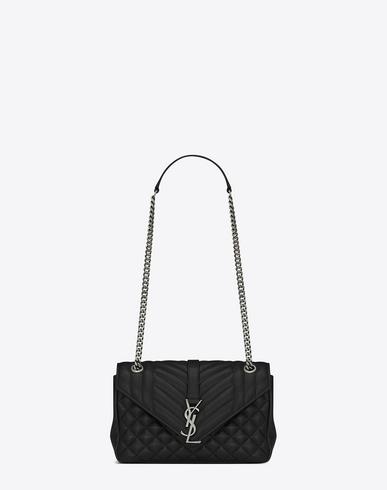 ef3d0bb1a18 Saint Laurent Classic Medium Soft Envelope Monogram In Black Leather ...