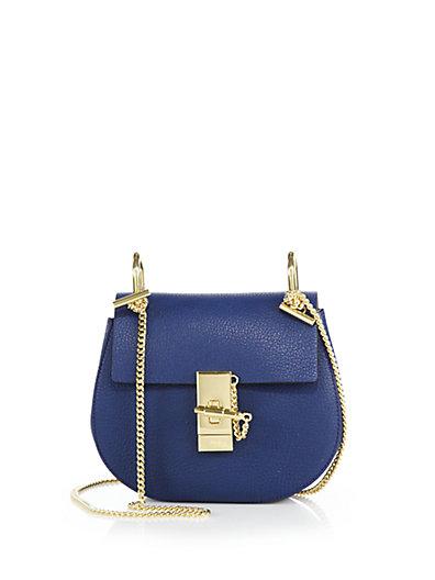 ChloÉ Drew Mini Leather Shoulder Bag In Blue