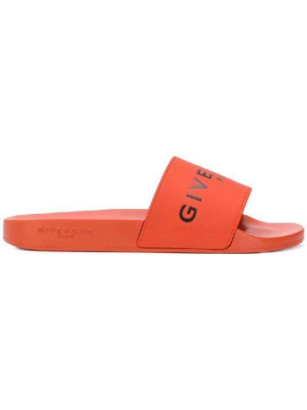 Givenchy Logo Rubber Slide Sandals - Orange In Yellow & Orange