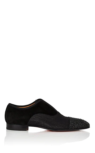 Christian Louboutin Men's Alpha Male Strass Slip-On Loafers In Black