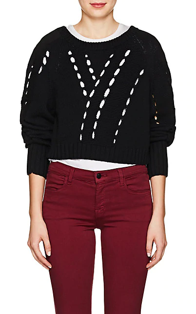 T By Alexander Wang Twill-Paneled Cotton Crop Sweater - Black