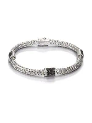 John Hardy Classic Chain Black Sapphire & Sterling Silver Four-Station Bracelet In Silver Black