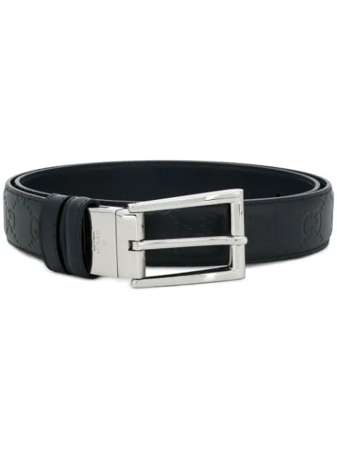 Gucci Reversible Signature Leather Belt In Blue