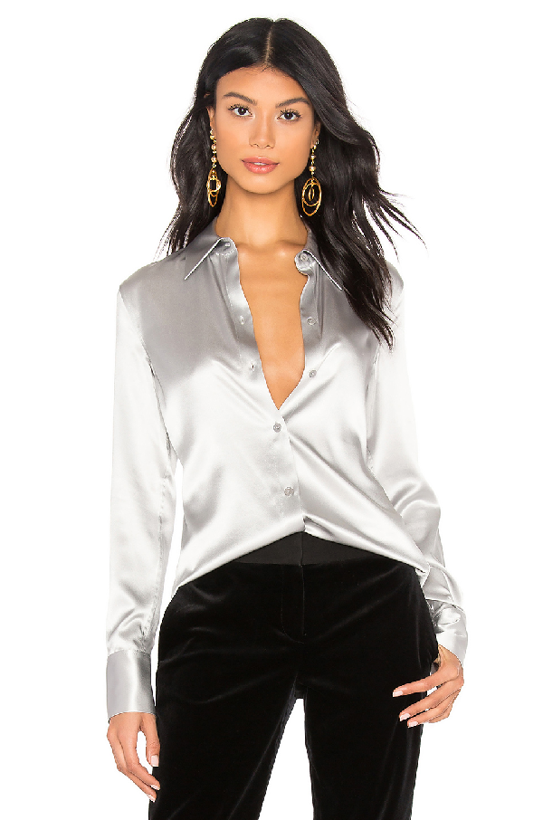 1ab6e5993a5 Theory Perfect Fitted 2 Stretch-Satin Long-Sleeve Button-Down Blouse In  Silver