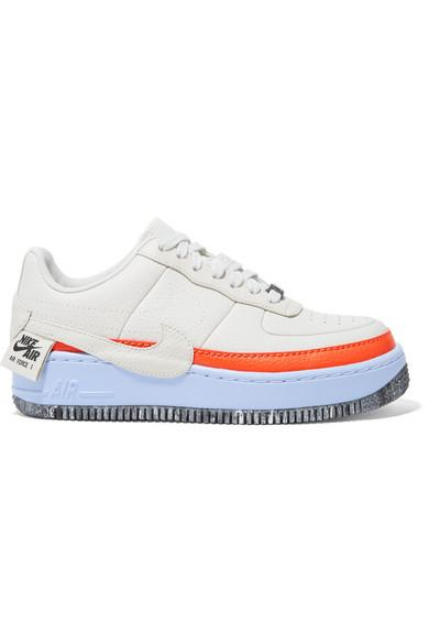 hot sale online d6876 5c768 Nike Air Force 1 Jester Xx Textured-Leather Sneakers In Light Bone  Team  Orange