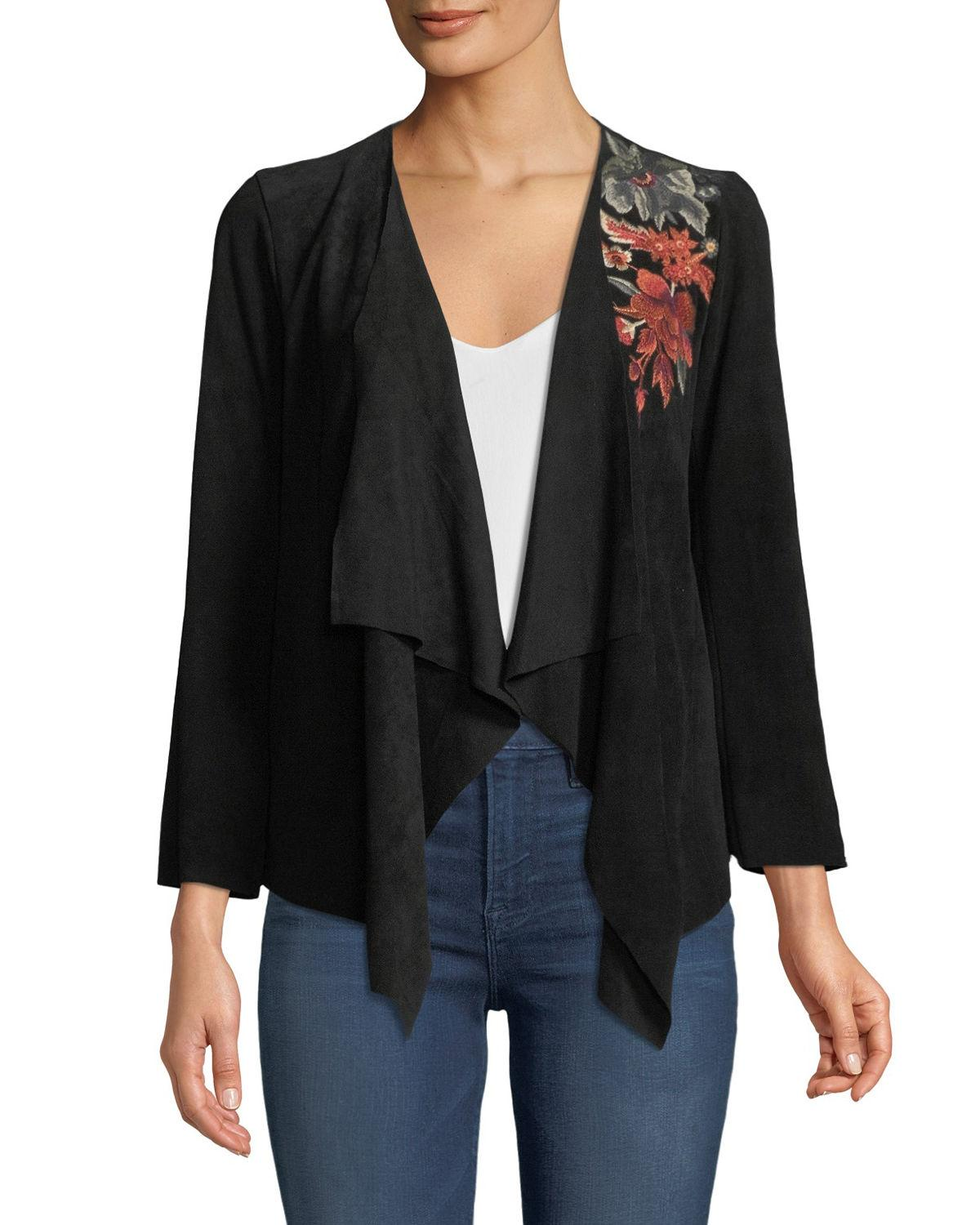 1ca73f90aa1d8 Johnny Was Ferris Embroidered Suede Draped Jacket In Black