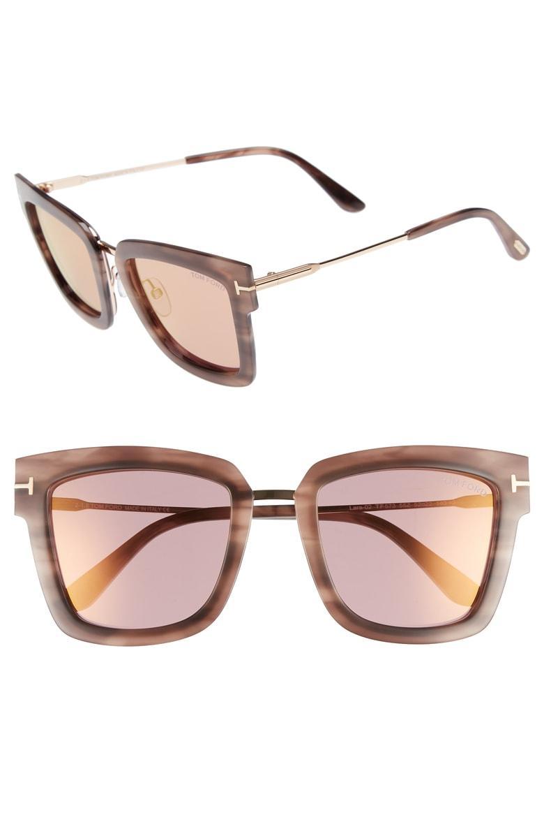 ad28498b5c Tom Ford Lara 52Mm Mirrored Square Sunglasses - Pink Melange Havana Acetate
