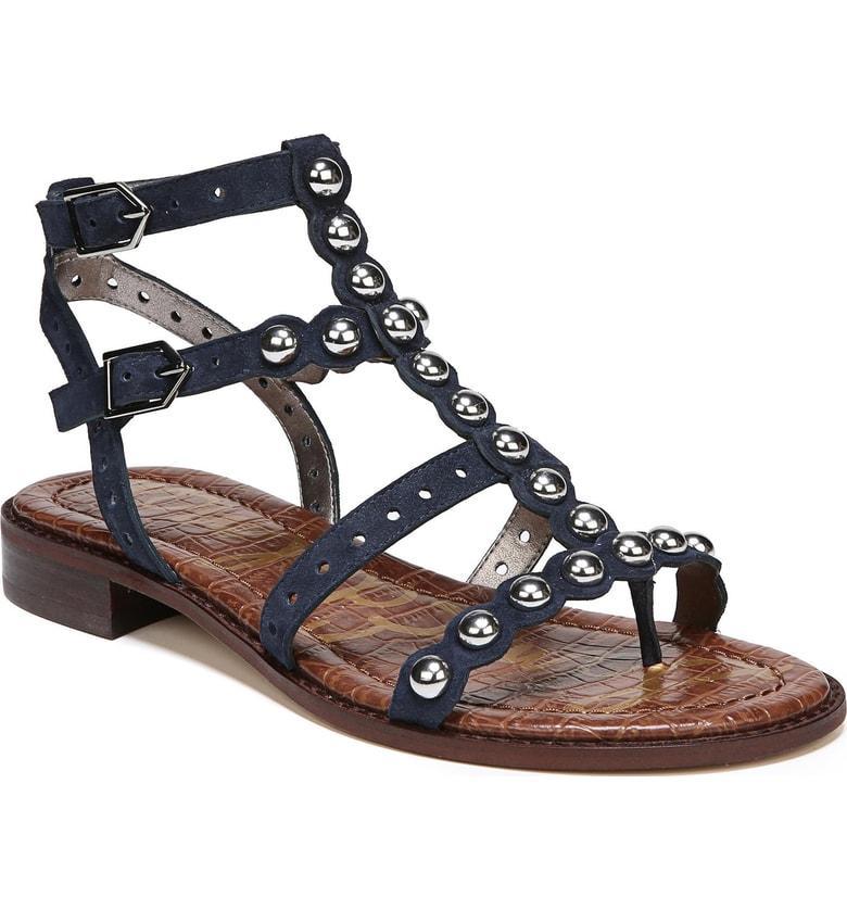 2e78c2ef8 Sam Edelman Elisa Studded Gladiator Sandal In Inky Navy Suede
