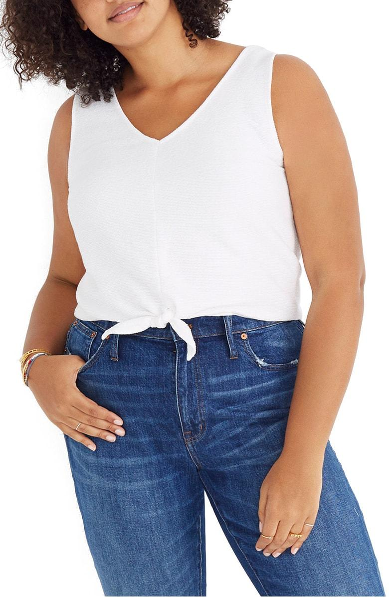 0e1186ca80c Madewell Texture & Thread Tie Front Tank In White Wash | ModeSens