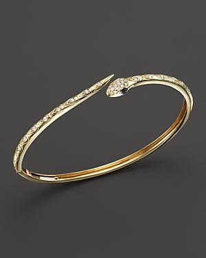 e5732037ac85b Black And White Diamond Snake Bracelet In 14K Yellow Gold - 100% Exclusive
