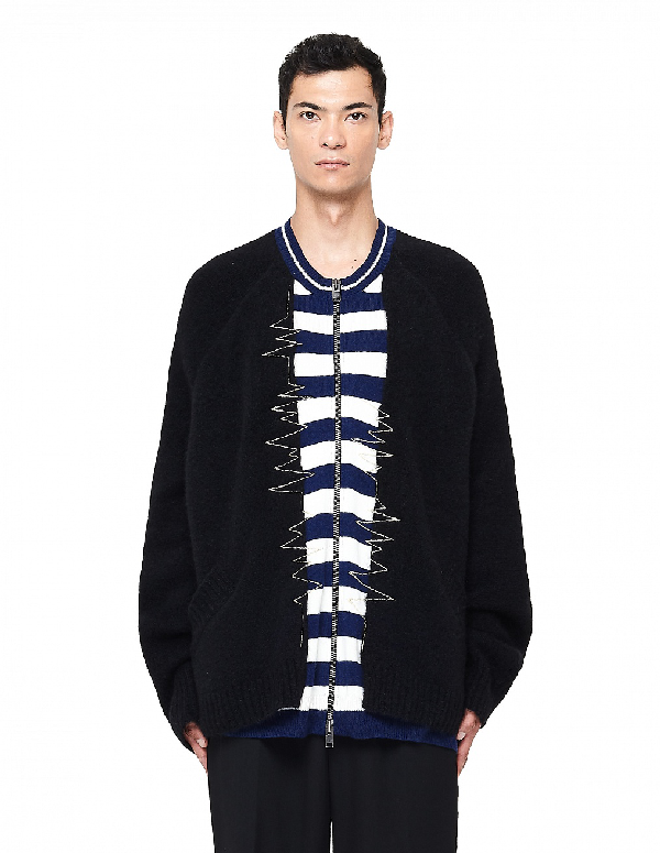 Haider Ackermann Embroidered Zip Up Knit Cardigan In Black