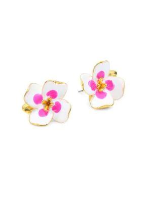 Kenneth Jay Lane Enamel Floral Stud Earrings In Gold