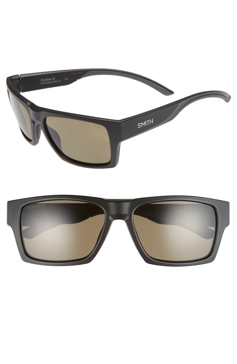Smith Outlier 2 57mm Chromapop(tm) Polarized Square Sunglasses In Matte Black