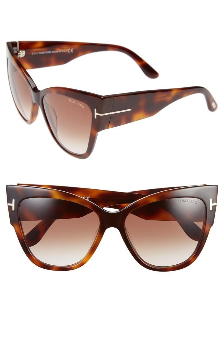 cb5507240db Tom Ford Anoushka 57Mm Gradient Cat Eye Sunglasses - Shiny Havana  Gradient  Brown