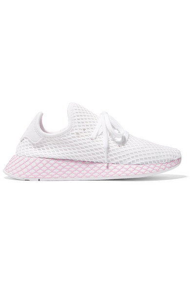 63f033337aa51 Adidas Originals Deerupt Runner Suede-Trimmed Mesh Sneakers In White ...