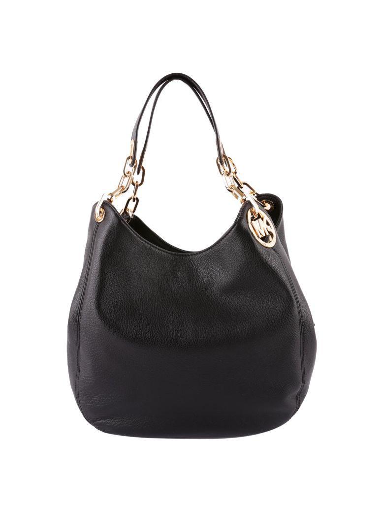 Michael Michael Kors Fulton Leather Shoulder Bag In Black