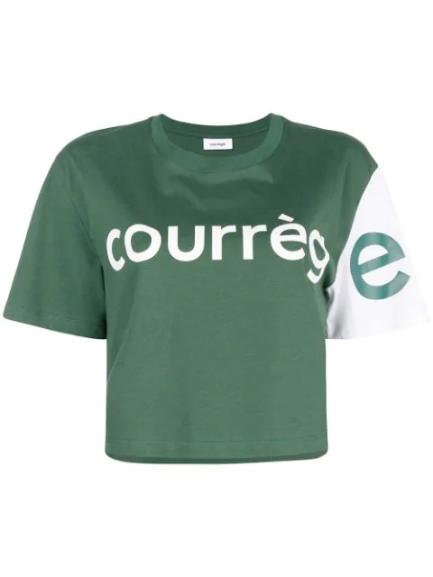 CourrÈGes Colour Block Cropped T In Green