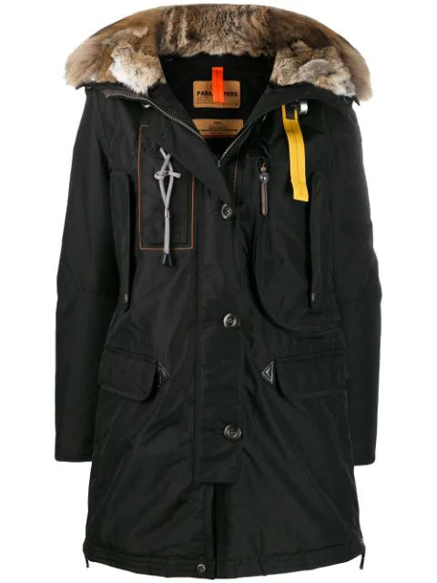 Parajumpers Fur Trimmed Parka In Black