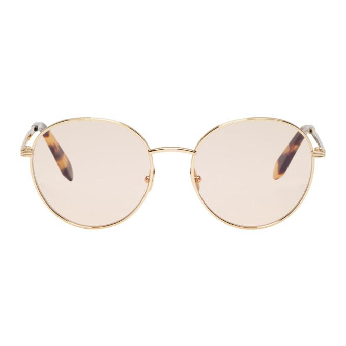 9d0c74dd22a8 Victoria Beckham Gold Metal Panto Sunglasses In Nude B Gold