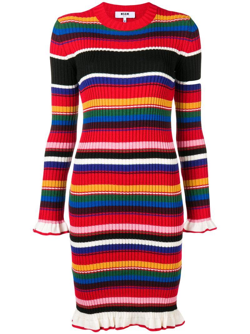 b6116139ba5 Msgm Striped Rib-Knit Sweater Dress In Red