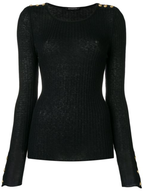 Balmain Button Detail Ribbed Sweater In Black