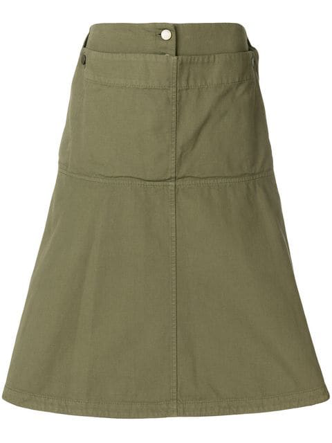 Jw Anderson Fold Front Skirt In Green