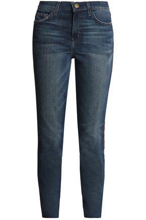 Current Elliott Current/Elliott Woman The Stiletto Velvet-Trimmed Mid-Rise Slim-Leg Jeans Mid Denim
