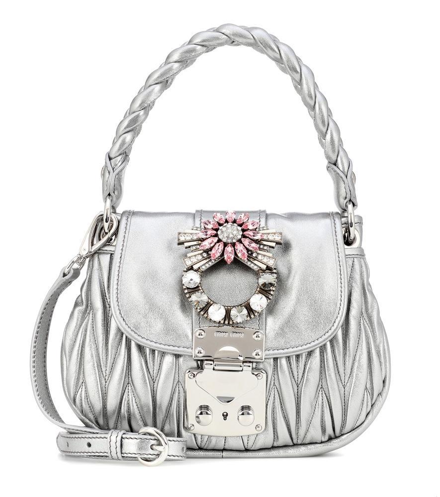 dbc91f37a7bf Miu Miu Coffer Micro Mini Matelasse Top-Handle Satchel Bag In Silver ...