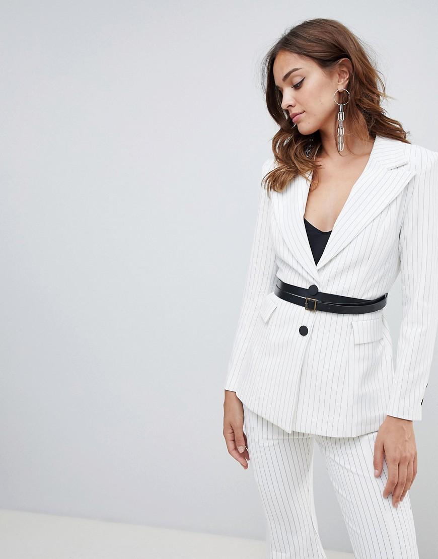 Elliatt Striped With Belt Blazer - White